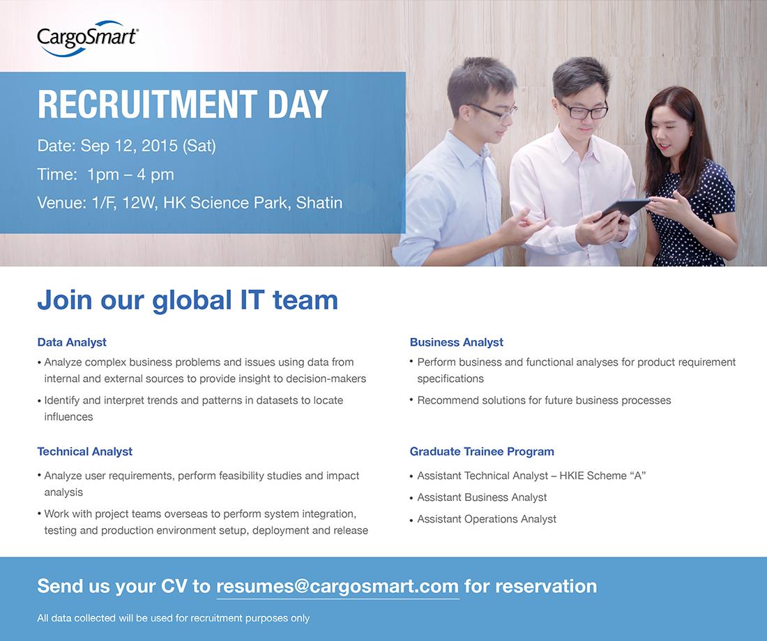 Recruitment Day on 12 September offered by CargoSmart