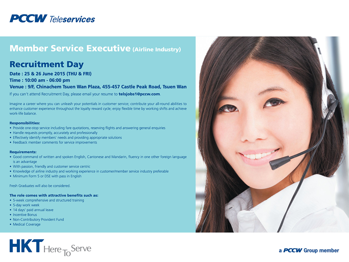 Recruitment Day on 25 - 26 June offered by PCCW Teleservices