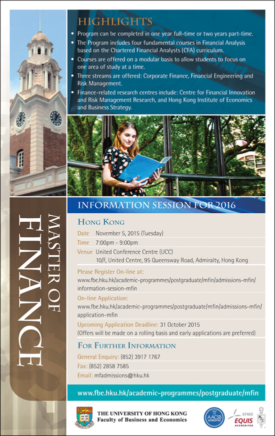 Master of Finance - Information Session For 2016