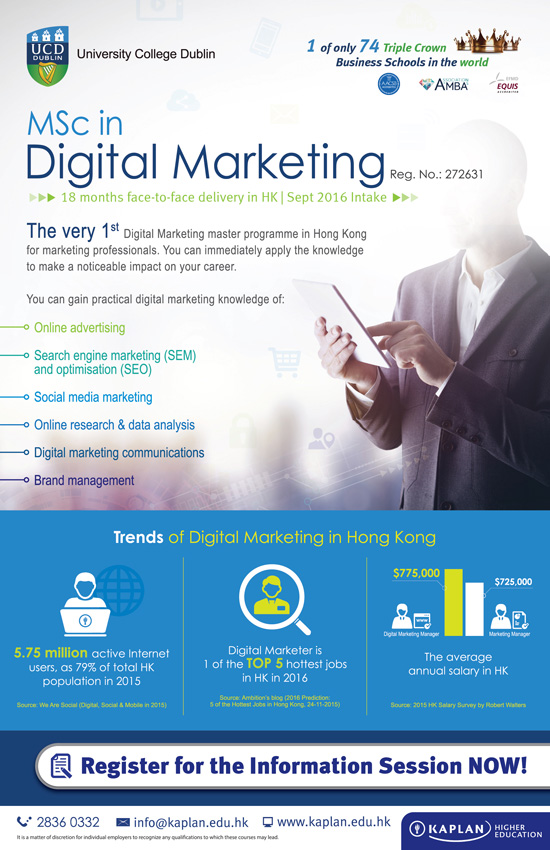 MSc in Digital Marketing offered by University College Dublin