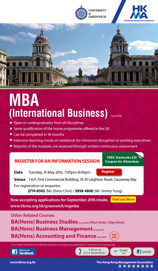 MBA(International Business), University of Greenwich, UK by HKMA