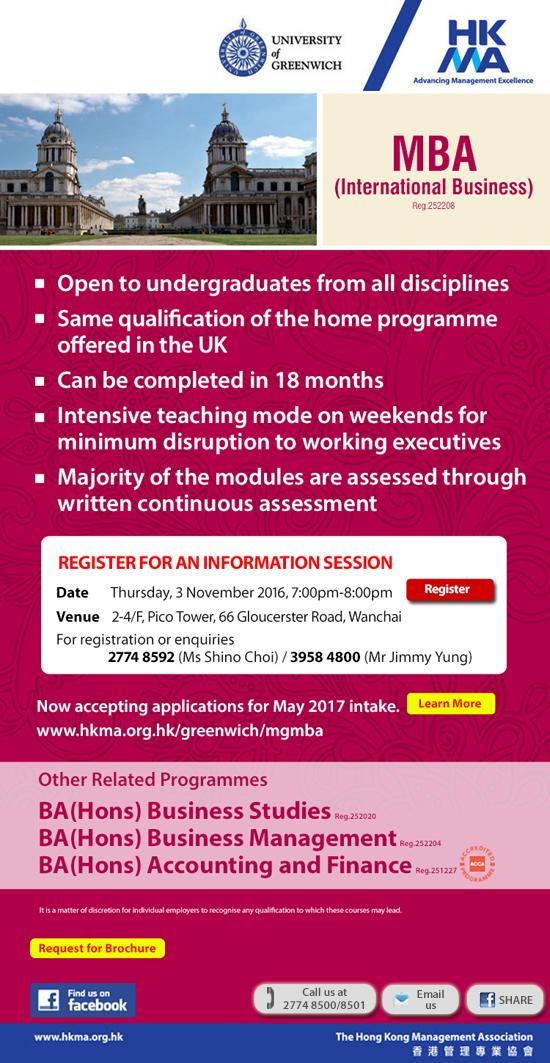 MBA(Internatioal Business), University of Greenwich, UK by HKMA