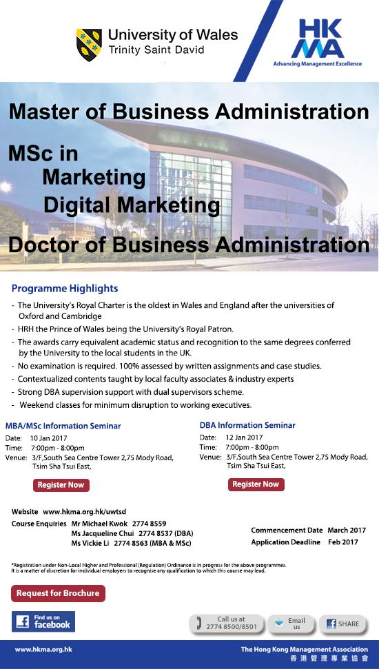 MBA/MSc in Marketing & Digital Marketing, University of Wales TSD
