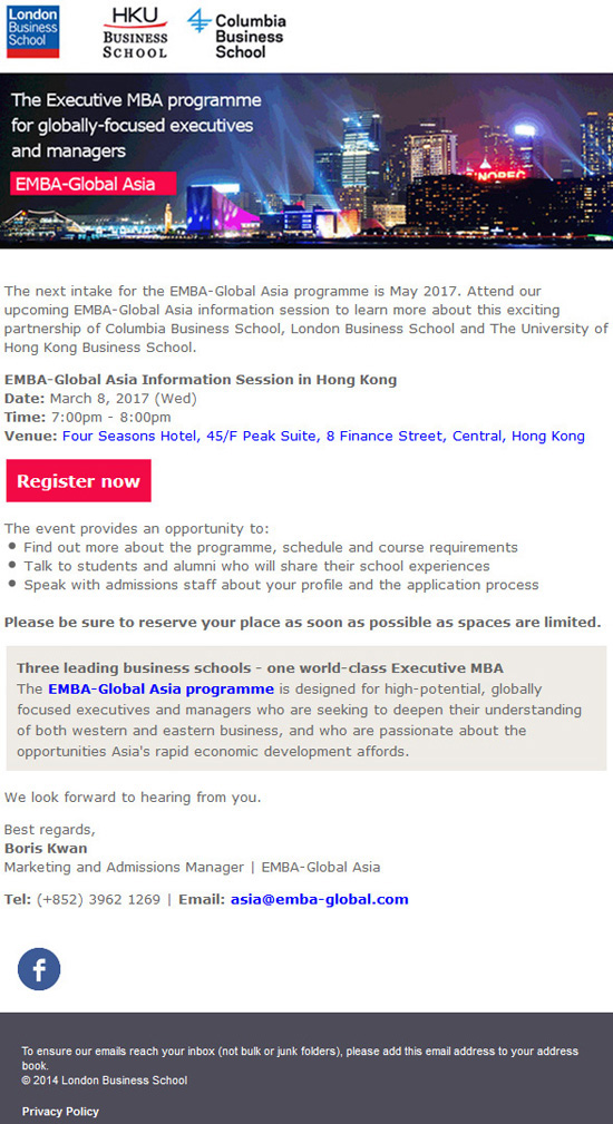 EMBA-Global Asia, offered by Columbia Business School, London Business School & HKU