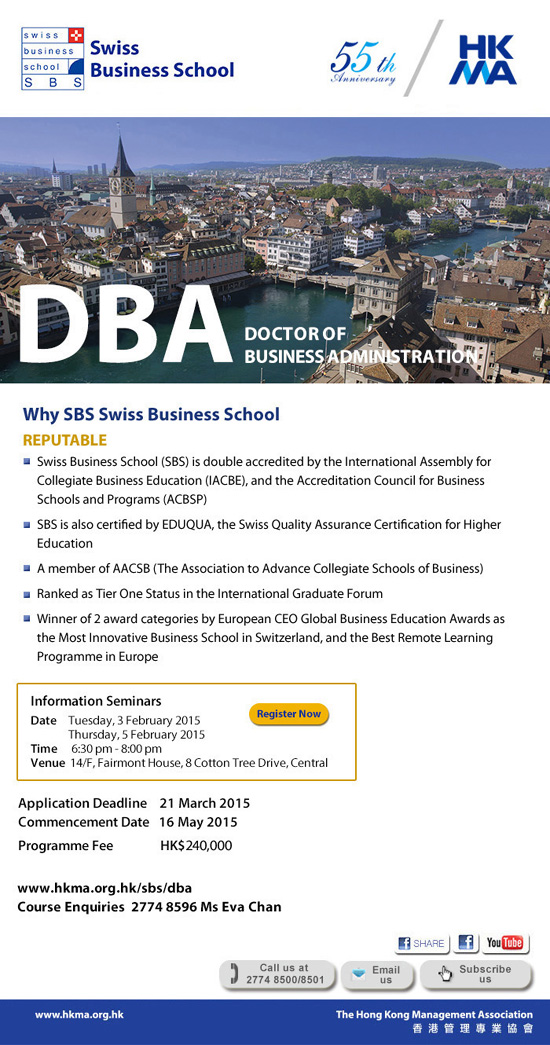 Doctor of Business Administration by Swiss Business School