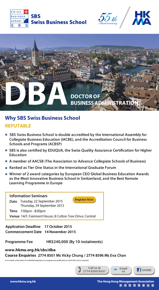 Doctor of Business Administration offered by Swiss Business School