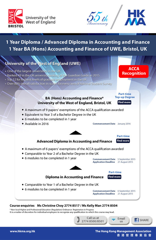 1 Year Diploma / Advanced Diploma / BA Accounting and Finance offered by UWE, Bristol, UK