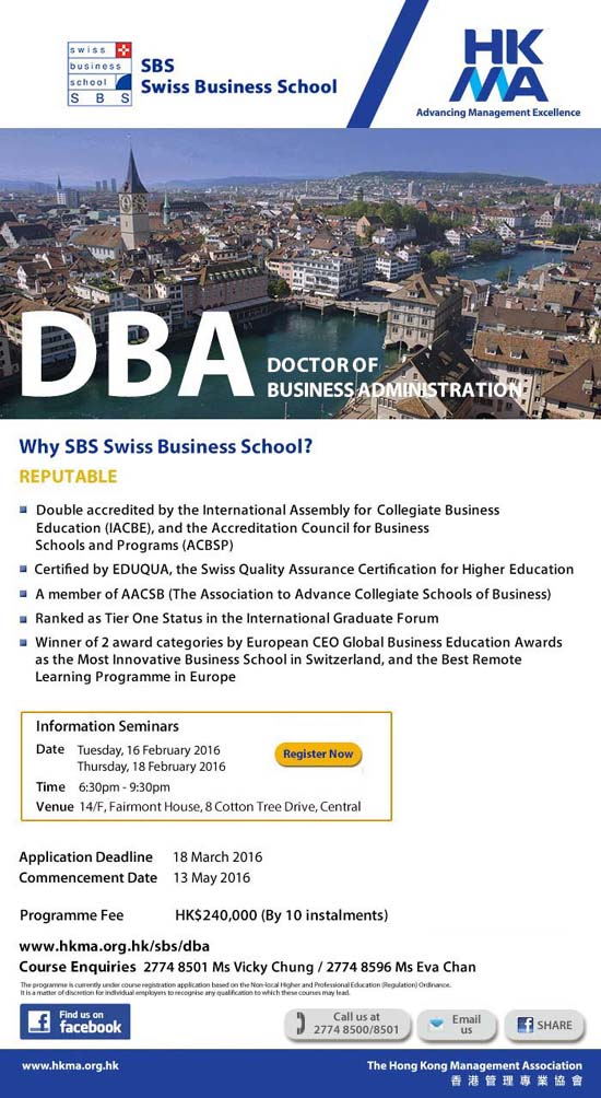 DBA Doctor of Business Administration by SBS Swiss Business School