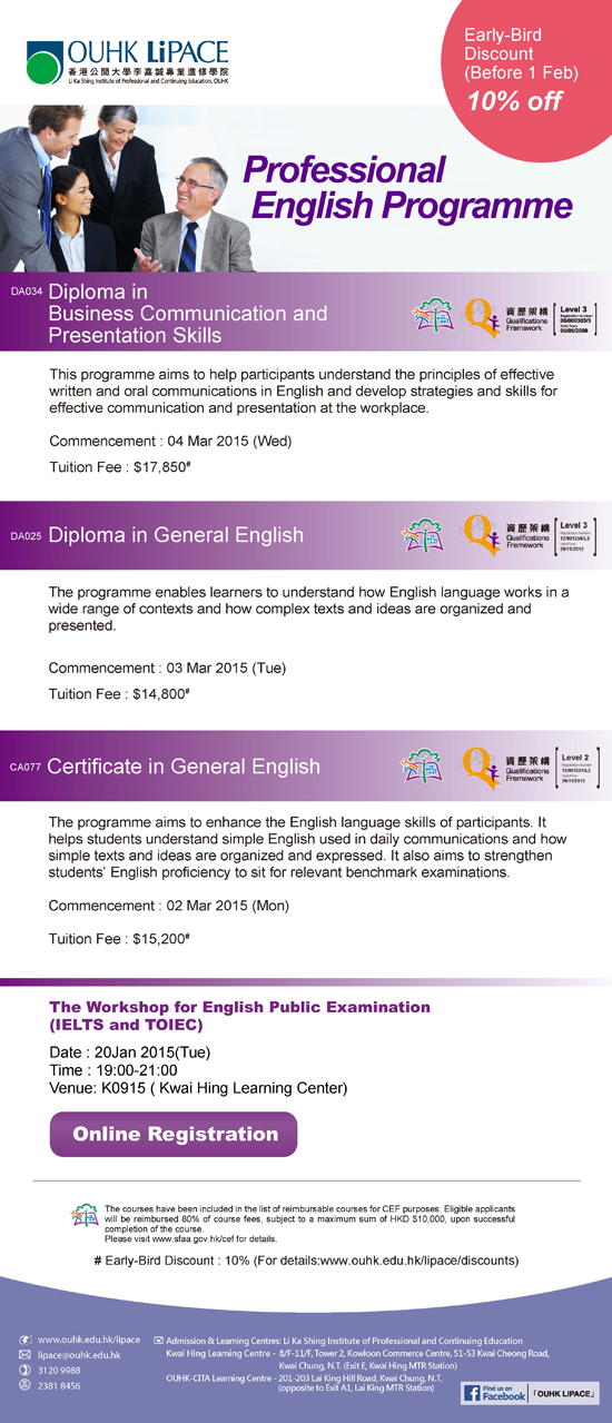 Professional english programme; diploma in business communication and presentation skills