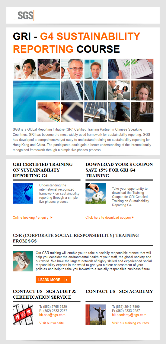 GRI - G4 Sustainability Reporting Course offered by SGS