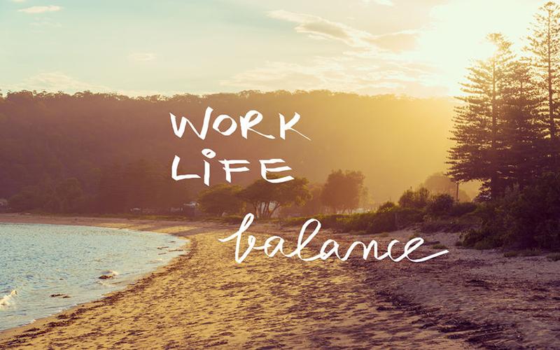 Handwritten text over sunset calm sunny beach background, WORK LIFE BALANCE, vintage filter applied, motivational concept image