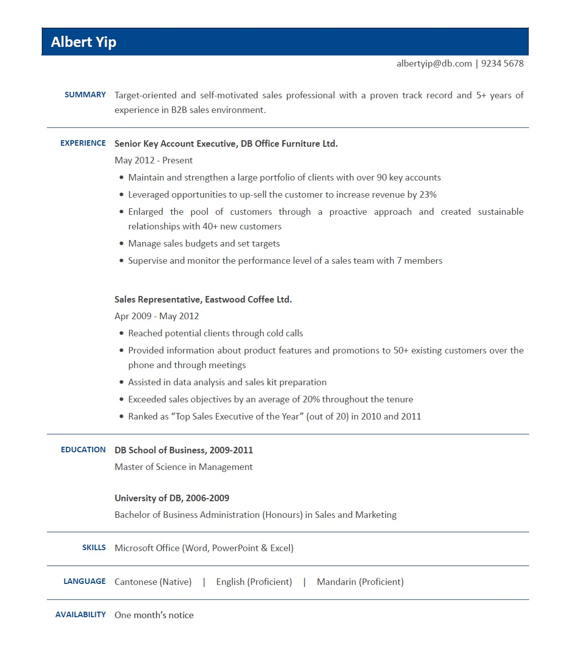 Sample Resume (Sales) | jobsDB Hong Kong