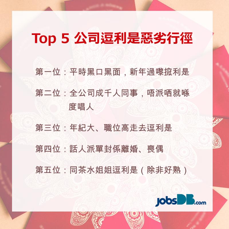 Top 5公司逗利是惡劣行徑