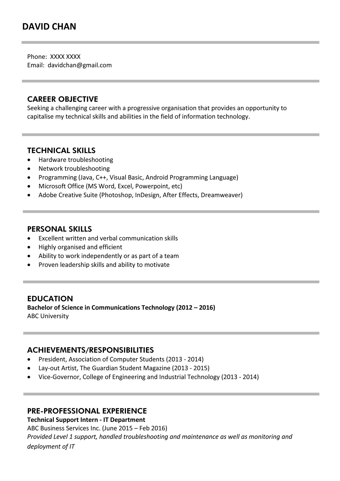 Sample Resume For Fresh Graduates It Professional Jobsdb
