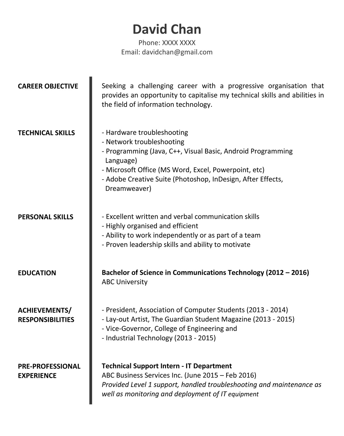 Sample resume for fresh graduates it professional for Reseume templates