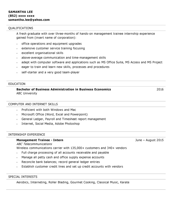Resume sample for Management Trainee jobsDB Hong Kong
