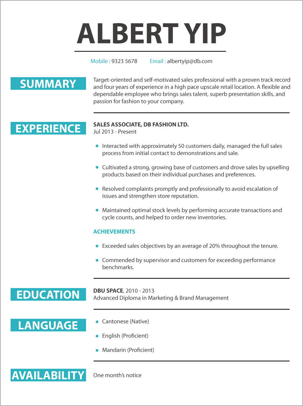 CV sample Retail Sales – Retail Resume