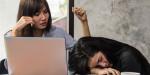 84053447 - beautiful asian girl working hard in the office.