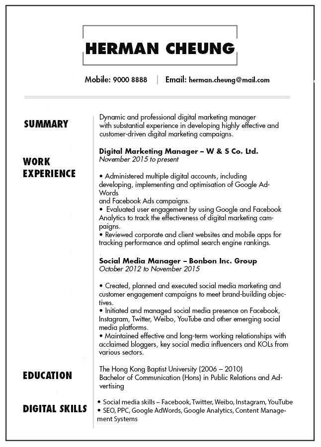 Digital Marketing Resume.Cv Resume Sample For Digital Marketing Manager Jobsdb