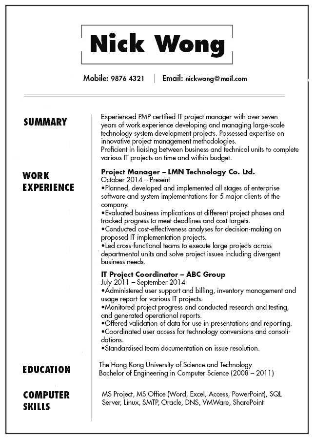 Resume & CV Sample for IT Project Manager | jobsDB Hong Kong