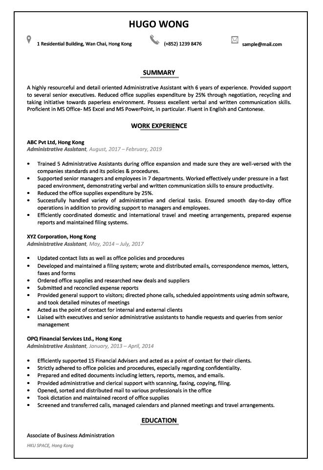 Resume Cv Sample For Administrative Assistant Jobsdb