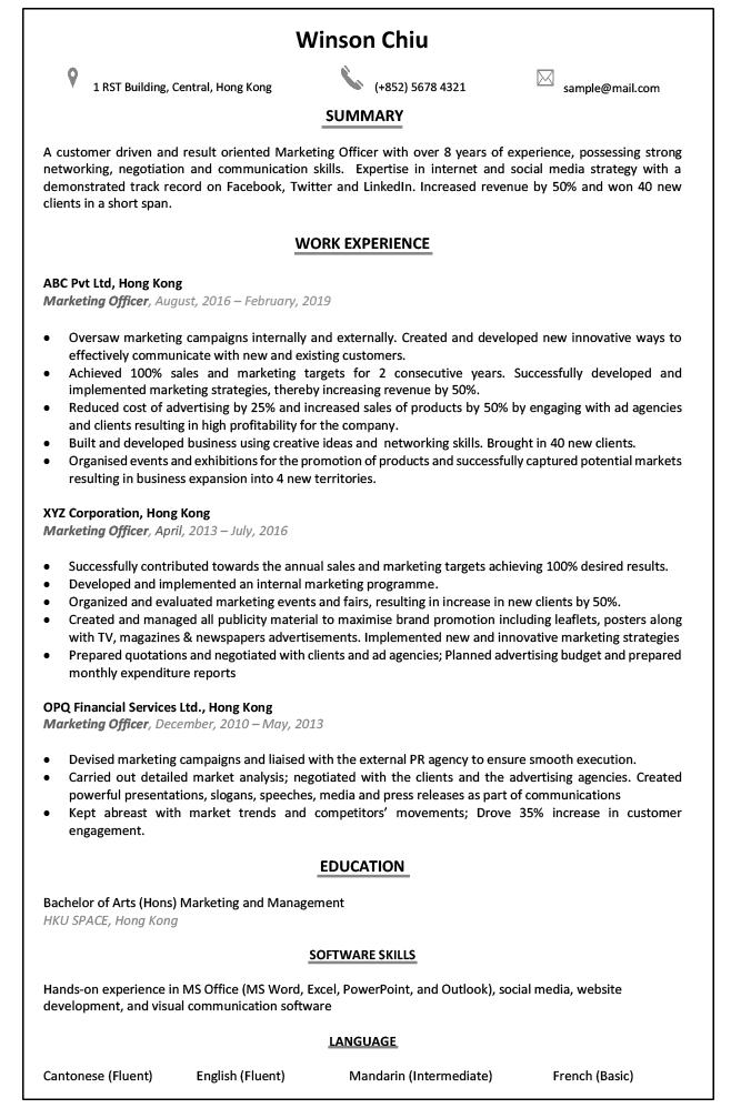 Resume Cv Sample For Business Development Executive