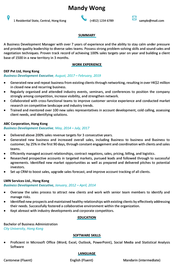 Resume Cv Sample For Business Development Executive Jobsdb