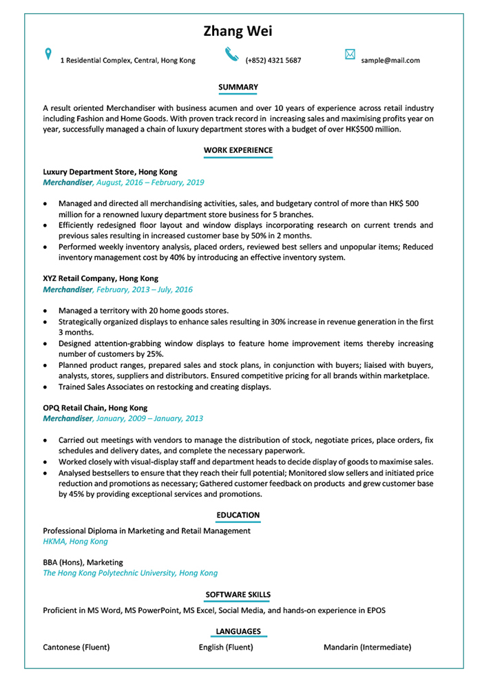 Resume/CV Sample for Exhibition and Event Project Assistant