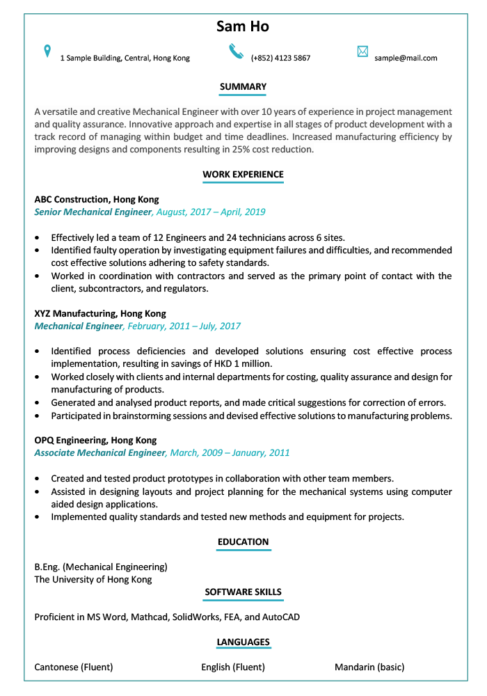 resume-CV-engineer-sample-template
