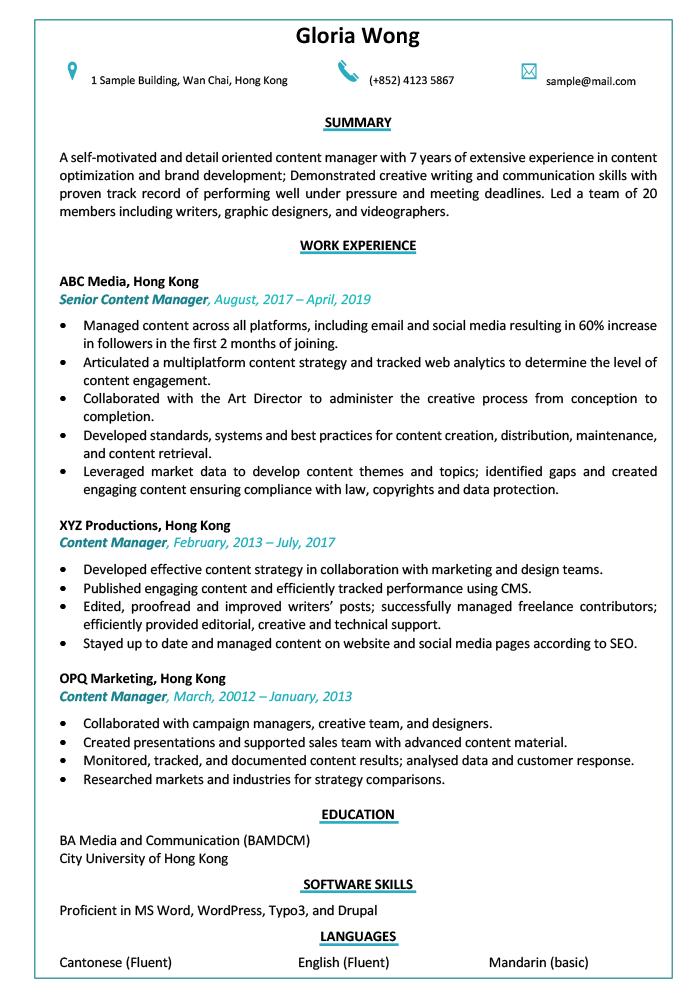 Resume Cv Sample For Content Manager Jobsdb Hong Kong