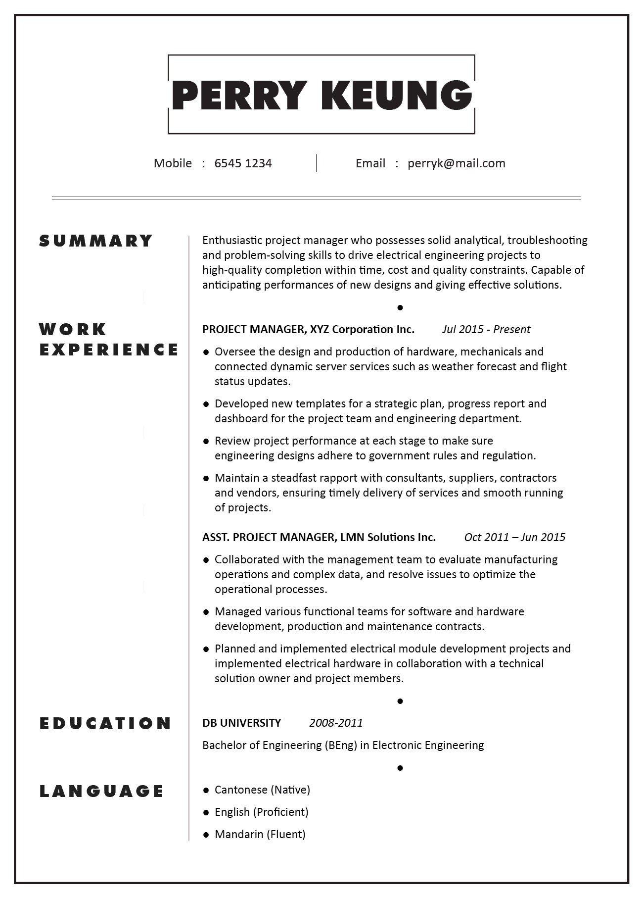 CV Sample Project Manager Electronic Electrical Mechanical Engineering