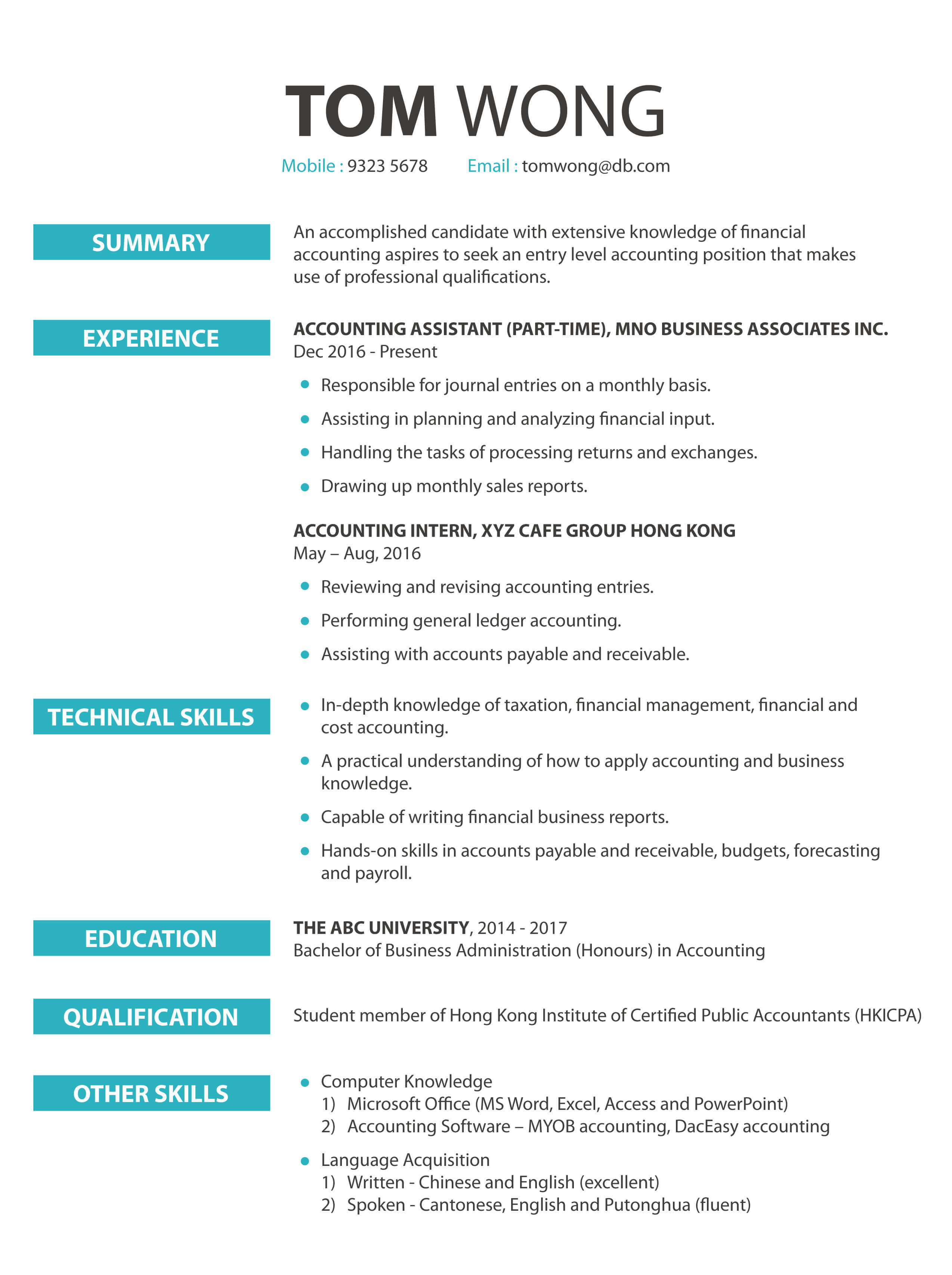 CV cover letter - Accounting