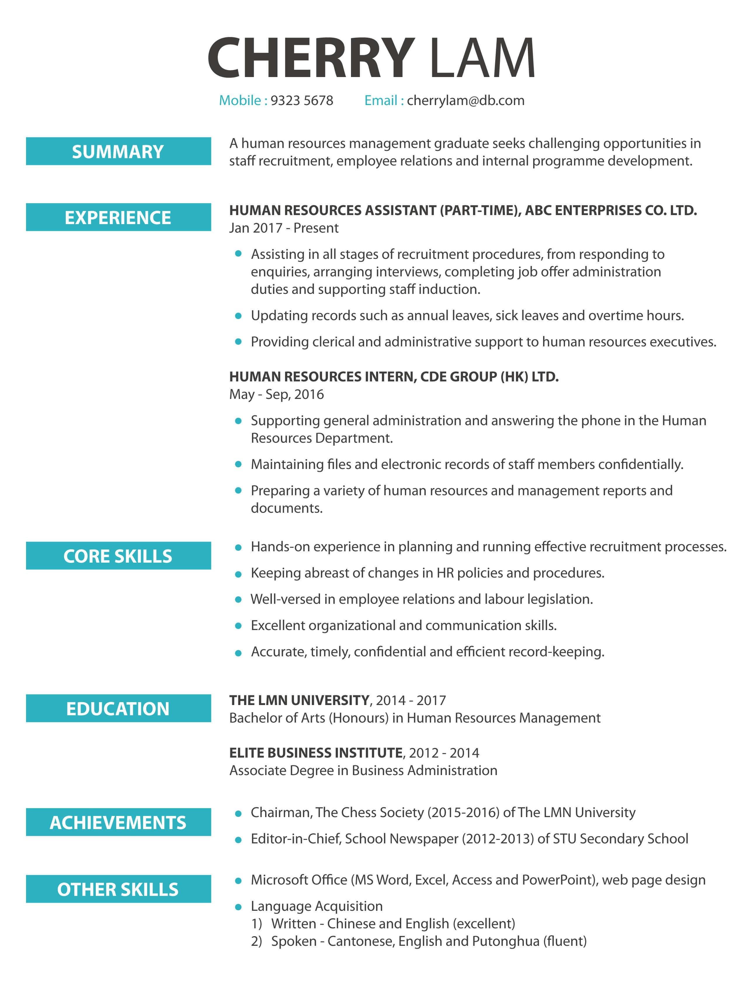 CV cover letter - Admin & HR