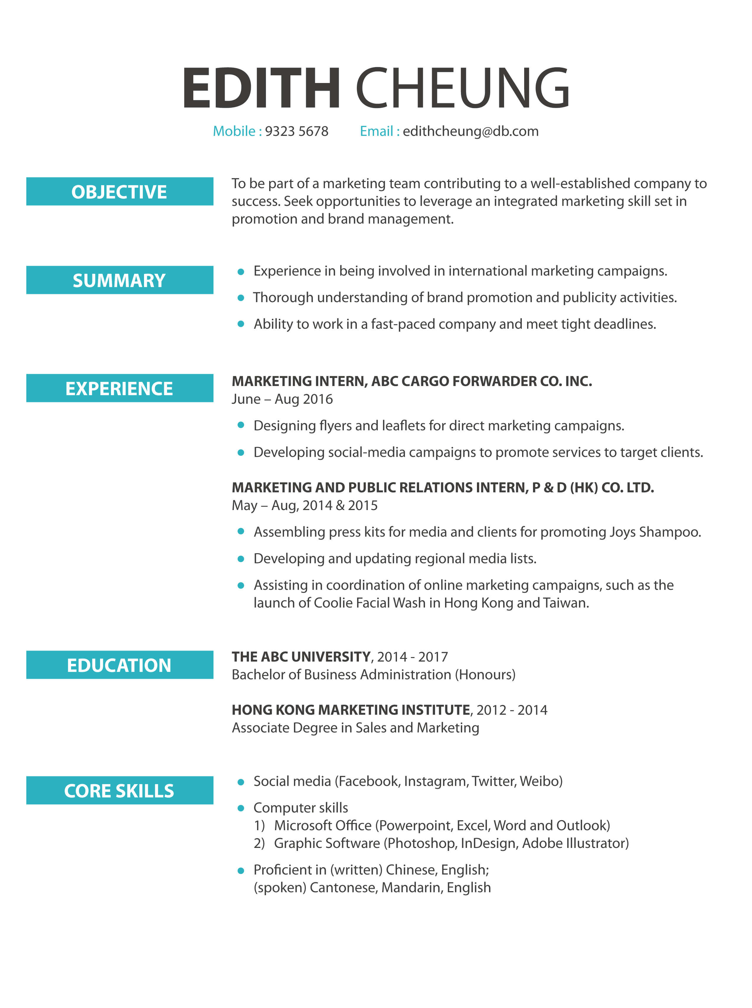 CV cover letter - Marketing / Public Relations