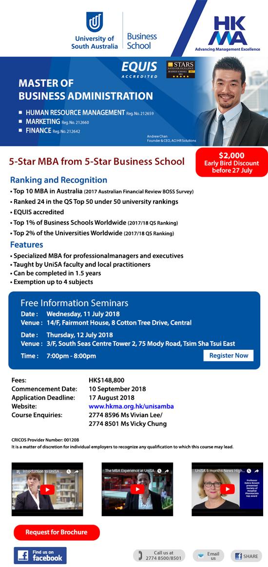MBA in HRM/Marketing – 5-Star & Top 10 MBA in Australia by HKMA