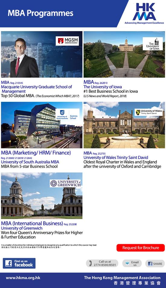 MBA from UK, US, Australia & Mainland Universities