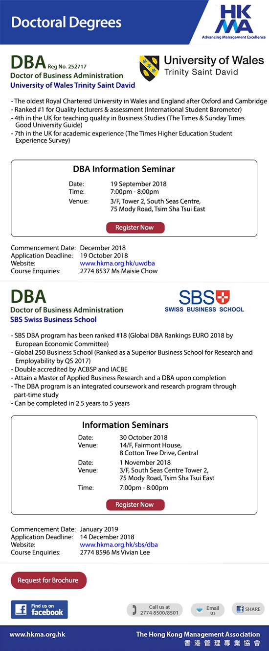 DBA for Executives – University of Wales Trinity Saint David and SBS